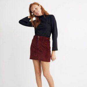 Madewell | NWT Velveteen Straight Zip Mini Skirt
